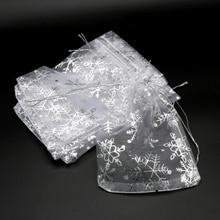 50pcs/lot White Organza Bags 7x9 10x14 13x18cm Wedding Christmas Candy Gifts Packaging Bags Snowflake Drawstring Pouch Gift Bag