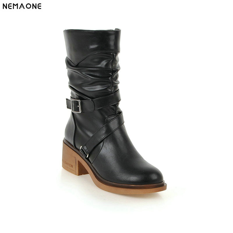 NEMAONE New women mid-calf western boots 5cm thick high heels round toe boots winter cross buckle shoes woman large size 43 enmayer buckle strap round toe zippers high heels winter boots shoes woman sexy red shoes large size 34 43 knee hight boots