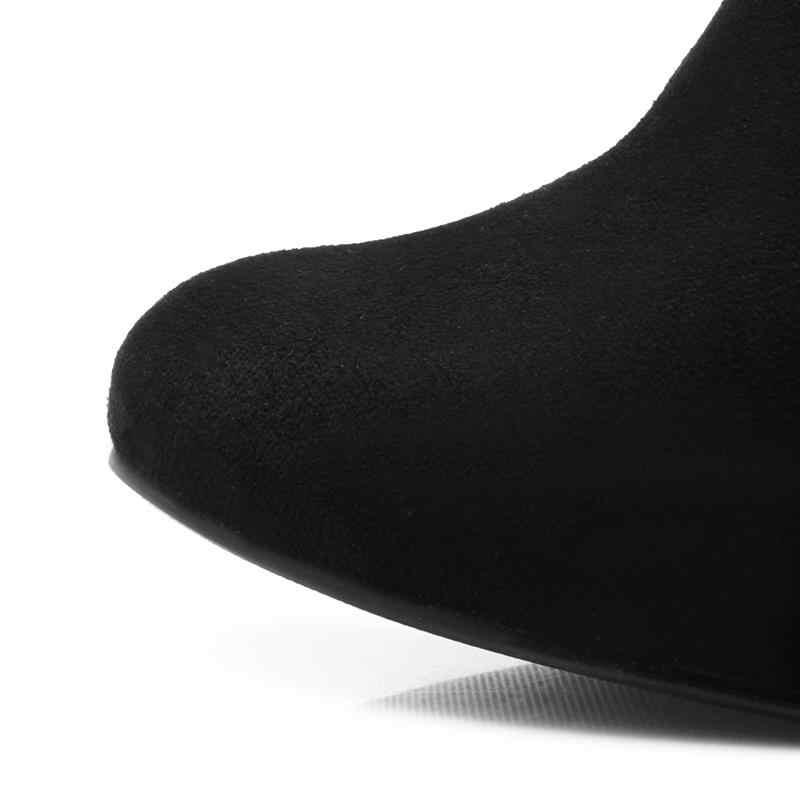 ASUMER 2020 ใหม่มาถึงฤดูหนาวรองเท้าบูทรอบ Toe หนารองเท้าส้นสูงกว่าเข่าบู๊ทส์ซิปสีดำ PLUS ขนาดผู้หญิงรองเท้า