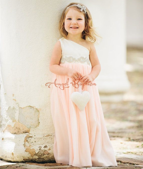 Cute white and pink long chiffon flower girl dresses one shoulder beading crystals A-line junior bridesmaids wedding party gowns faux pearl beading open shoulder knot chiffon dress