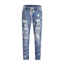 2019 new Europe America kanye west high street wind INS graffiti beggar Men fog hole inside zipper stretch slim jeans 30-36