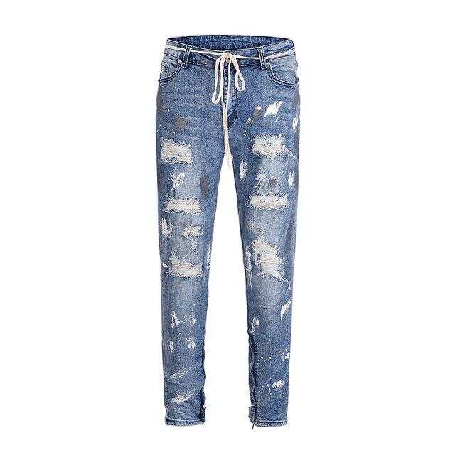 2019 new Europe America kanye west high street wind INS graffiti beggar Men fog hole inside zipper stretch slim jeans 30-36