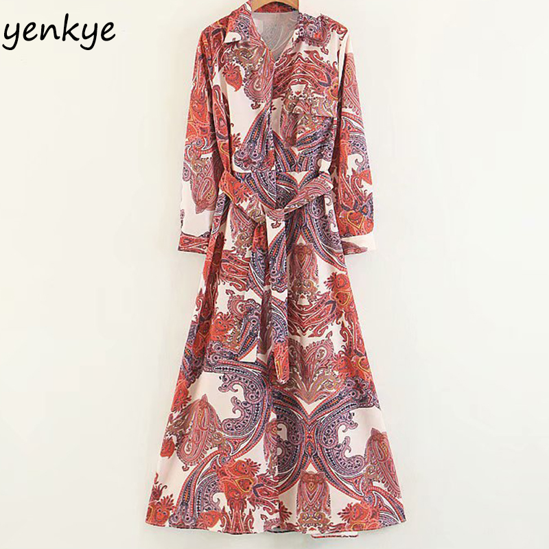 Women Vintage Printed Long Shirt Dresses Maxi Female Turn-down Collar Long Sleeve With Belt A-line Loose Casual Summer Dress