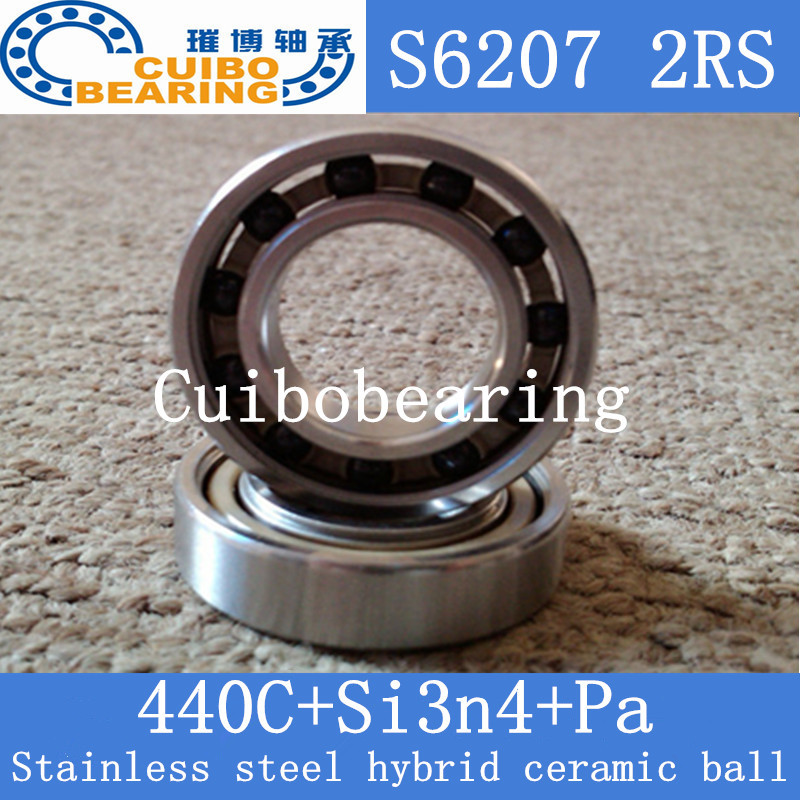 6207 2RS Size 35x72x17 Stainless Steel Ceramic Ball Hybrid Bike Bearing s6207 2rs