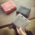 Hardware Hilo Tridimensional Pequeña Carpeta de Las Mujeres Billetera de cuero Cerrojo Sólido 3 Veces Titular de la Tarjeta Monedero de Embrague Carteira