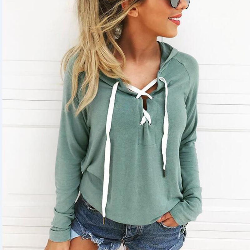 Fashion Hooded Hoodies Women Sweatshirt 2019 New Sexy Bandage Lace-Up Hoodies For Teen Girls Female Pullovers Hoody Plus Size