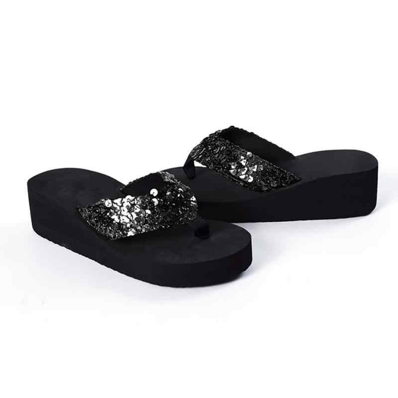 Yeni kadın kaymaz Bling Sequins plaj terlikleri Flip flop platformu takozlar yaz sandalet rahat ayakkabılar #928