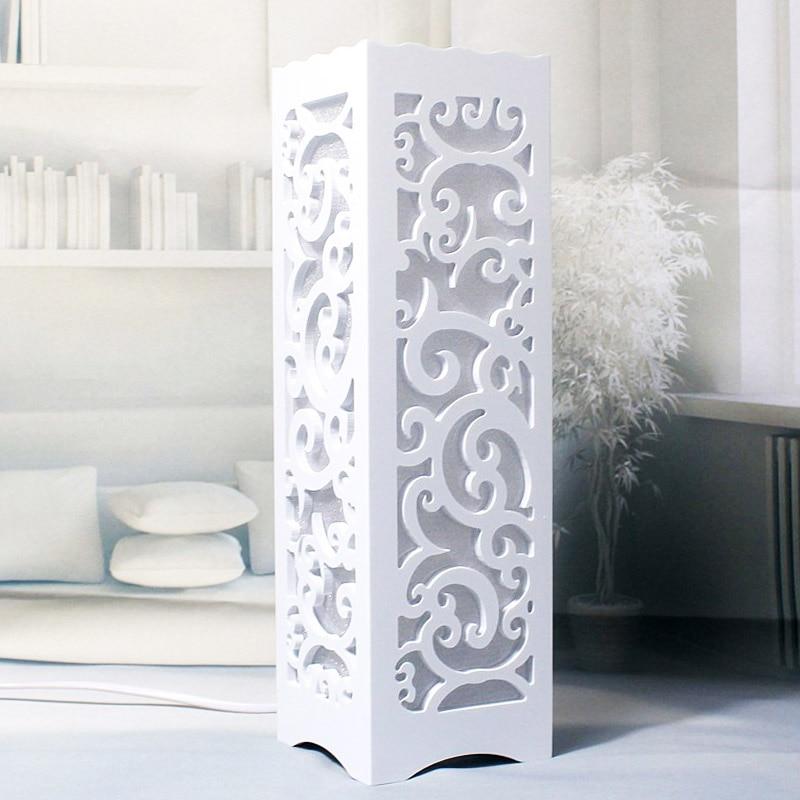 Minimalist Ivory White Wood Plastic Plate LED Table Lamp
