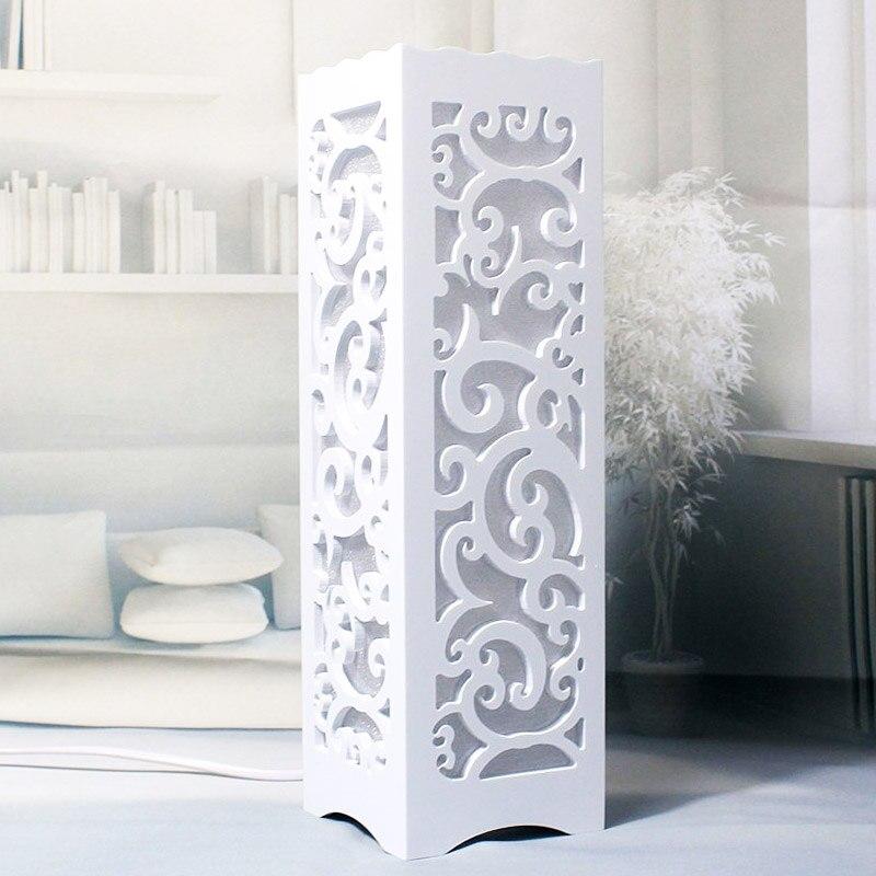 Placa De Plástico de Madeira minimalista Branco Marfim Candeeiro de Mesa LED, Desenho abstrato Através-Cared Decoração Abajur de Mesa de Cabeceira Quarto