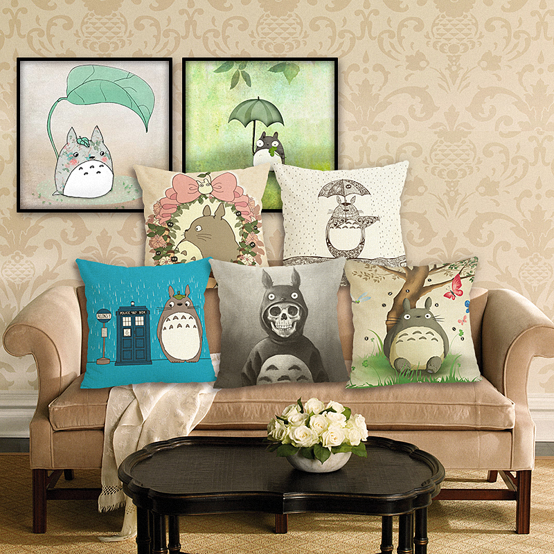 RECOLOUR High Quality Cartoon Totoro Home Decorative Cotton Linen cushion cover pillow covers Throw Pillow Square Cojines