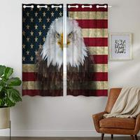 Blackout Curtains Darkening 2 Panels Grommet Window Curtain for Bedroom Vintage American Flag And Eagle