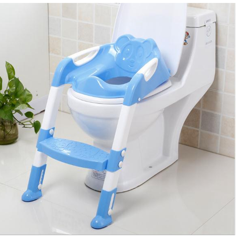 Folding Baby Toilet Seat With Adjustable Ladder Children Potty Training Seat Anti-Slip Pedals And Seat To The Toilet For Kid