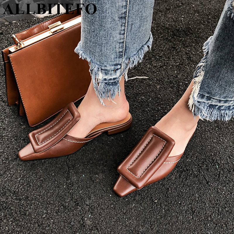 ALLBITEFO size 33 43 full genuine leather pointed toe women sandals fashion sexy girls summer beach sandals shoes flip flops-in Low Heels from Shoes    1
