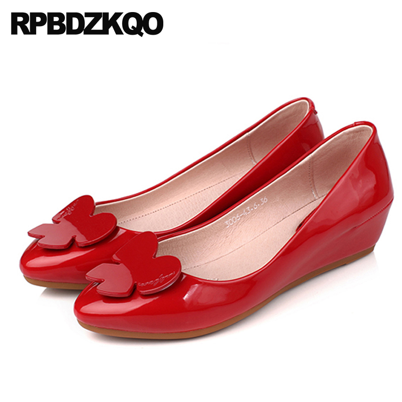 Pumps Pointed Toe Sweet Wedge Women Patent Leather Red Low Heels Bridal Shoes Size 4 34 Medium White China Kawaii Slip On 2018 fashion pumps elegant metal size 4 34 women medium square toe female chunky wine red patent leather shoes new 33 modern china