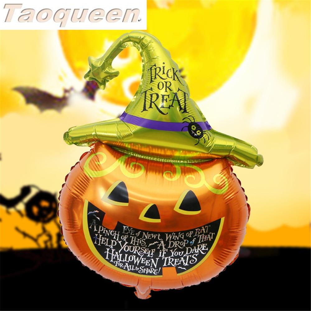 Halloween Pumpkin Ghost Balloons Halloween Decorations Foil Balloons Inflatable Toys Bat Halloween Party Supplies Cartoon Hat