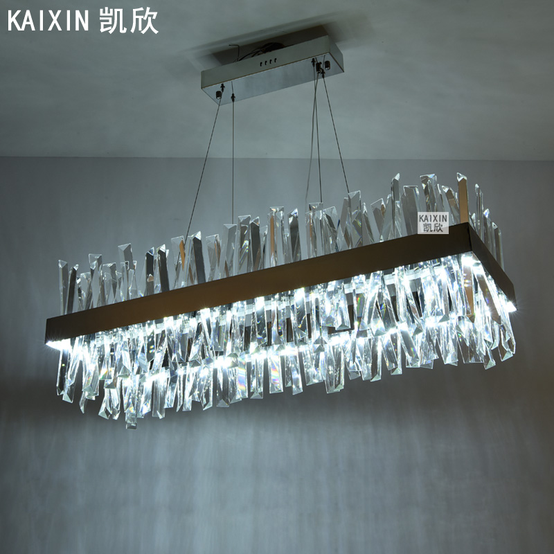 New creative simple modern restaurant living room chandelier personality designer Nordic light luxury rectangular crystal lamp
