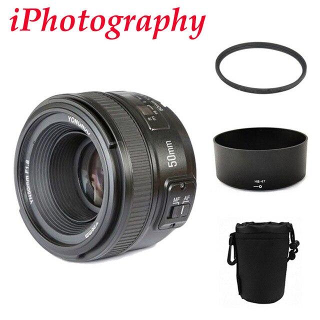 YONGNUO YN 50mm YN50mm f/1.8 AF MF Lens + Lens Hood + UV Filter + Lens Case Set Auto Focus for Nikon Camera AS AF-S 50mm 1.8G