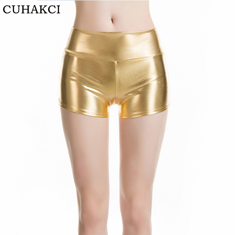 CUHAKCI New Summer Gold Sexy   Shorts   Women Elastic Waist PU Leather   Shorts   Female Celebrity Party Club Bright   Shorts   Plus Size
