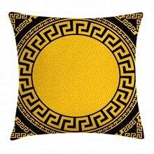 Греческий Ключ хлопок льняная Подушка Наволочка, солнце вдохновил большой круг с античной Ладой и орнаменты в виде треугольников, Decorativ