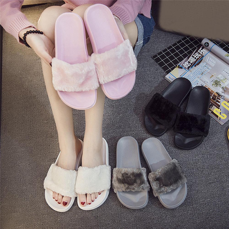 Casual Slipper Flip Flop Sandal chinelos de Womens Slippers Zapatos Mujer Ladies Slip On Sliders Fluffy Faux Fur Flat Size 36~41