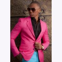 2018 New Fashion Pink Herren Anzug Blazer Mit Blauen Hosen Benutzerdefinierte Junge Hochzeit anzüge Prom Smoking Für Männer (jacke + Hose)