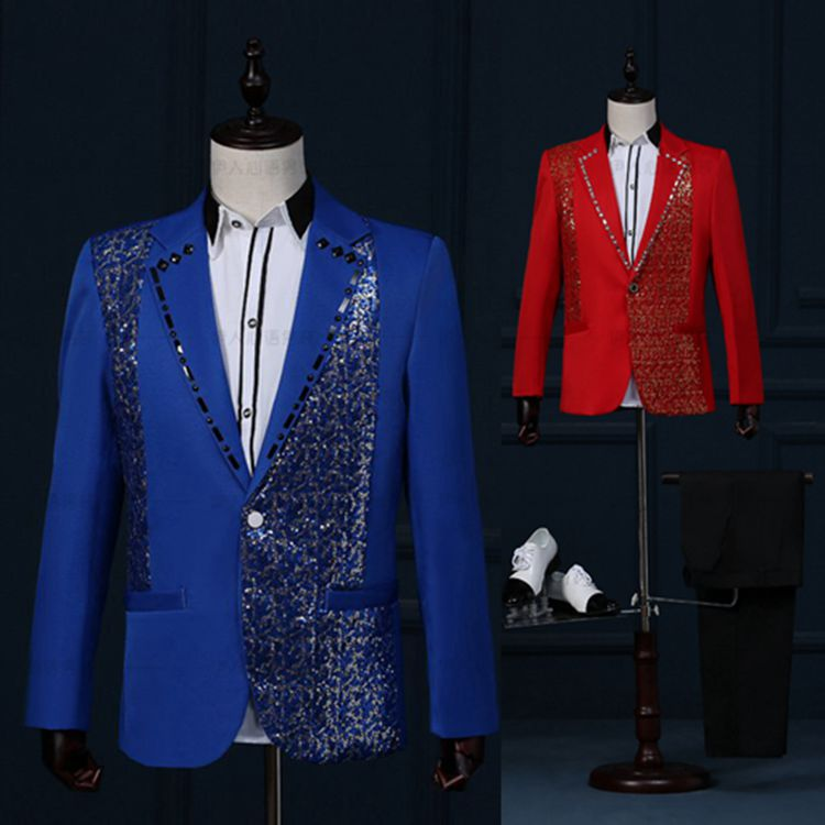 New Men Slim Casual Married Wedding Suits Set Male Sequin Rhinestone Embroidery Host Evening Prom Party Clothing Stage Dress