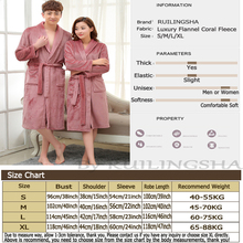 Lovers Dress for Men and Women Warm Super Soft Flannel Coral Fleece Long Bath Robe Mens Kimono Bathrobe Male Dressing Gown Robes