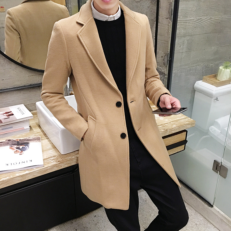 2017 зимние Для мужчин в длинное пальто Тонкий шерстяное пальто, Англия Стиль джентльмен прилив дикий Для мужчин Пальто для будущих мам, проду...