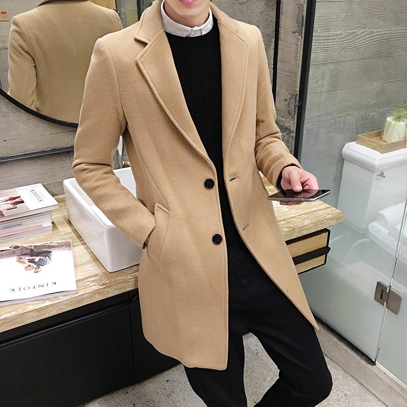 2017 Vinter män i långa täcker Slim Woolen Coat, England Style - Herrkläder - Foto 1