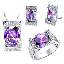 NEW platinum suite 925 sterling silver set of imported Austria Crystal Gemstone series
