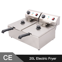20L Double Tank Comemrcial Electric Deep Fryer Machine Electric Fryer Electric Chip Fryers