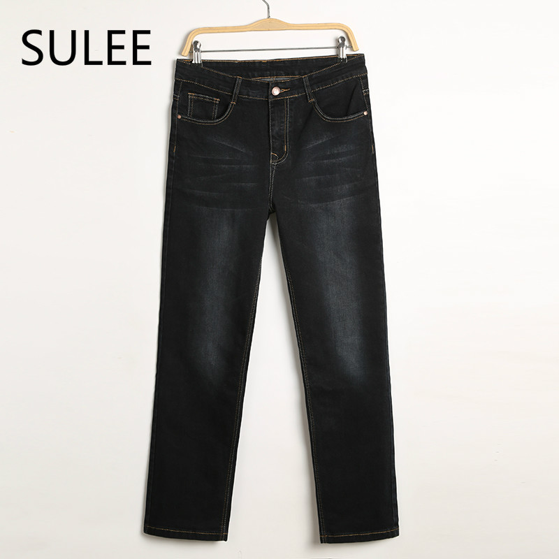 SULEE Mens Jeans Plus Size 30-44 Stretch Denim 4 Colors Men's Straight Jean Pants Casual Relax Loose Fit Jeans Trousers Pants