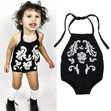 Baby Girl Bodysuit!!Black Cotton Sleeveless Outfits Summer Embroider Sunsuit Clothes For Age 0-24M Girls