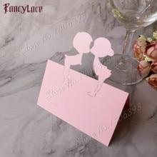 50pcs Laser Cut Cartoon Lover Shape Table Name Card Place Pearlescent Wedding Favor Decor Party Decoration Supplies