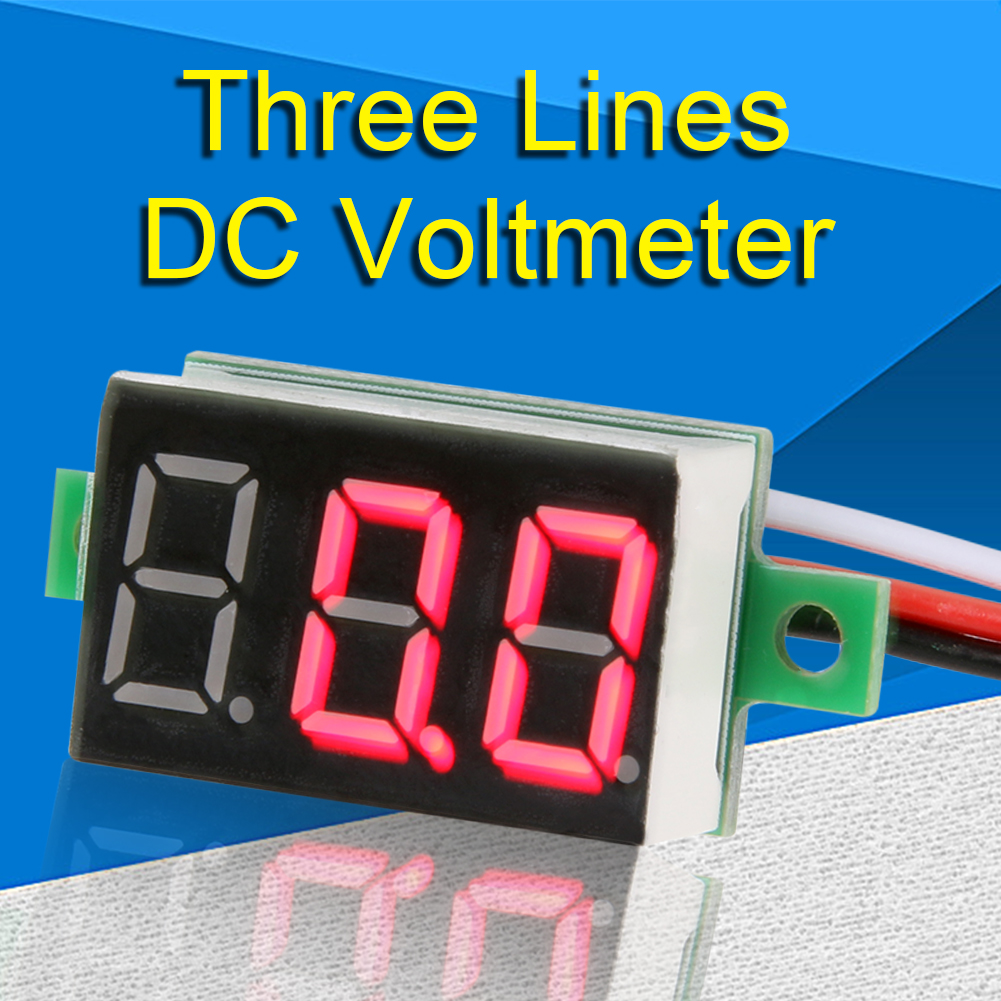Led Digital Voltmeter Dc0 100v Three Line Volt Panel Meter Tester 3 Wire Wiring Wires 15cm Blue Red Green Display 036inch In Voltage Meters From Tools On