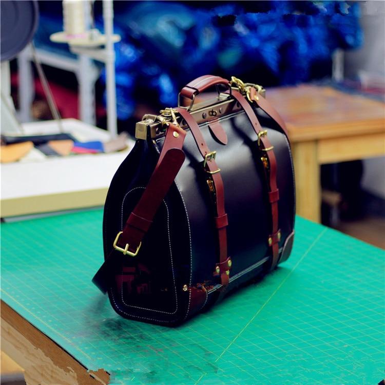 DIY Hand Leather Bag Drawing Dulles Travel Bag Version 4mm BDQ-127 Mouth Gold Travel Bag Version