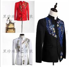 Men's clothing applique suit mens blazer men formal dress men suits designs masculino homme terno stage black white red fashion