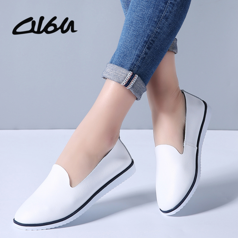 O16U Spring Women genuine leather ballet flats casual shoes round toe slip on flats female loafers ballerina flats Women Shallow