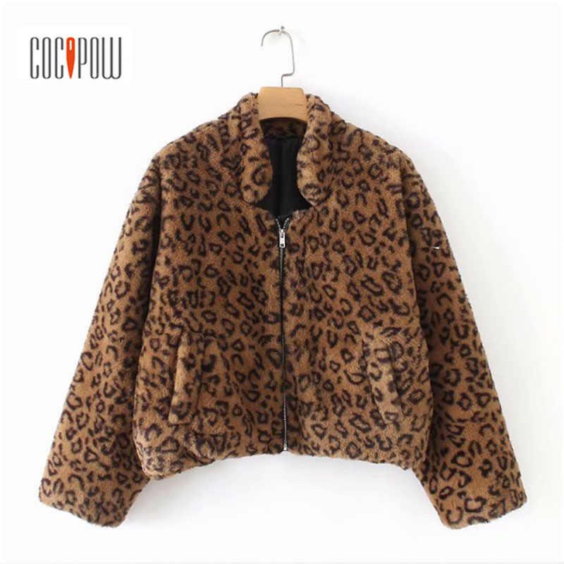 Зимние теплые леопардовые уличная искусственный мех пальто толстые с карманами