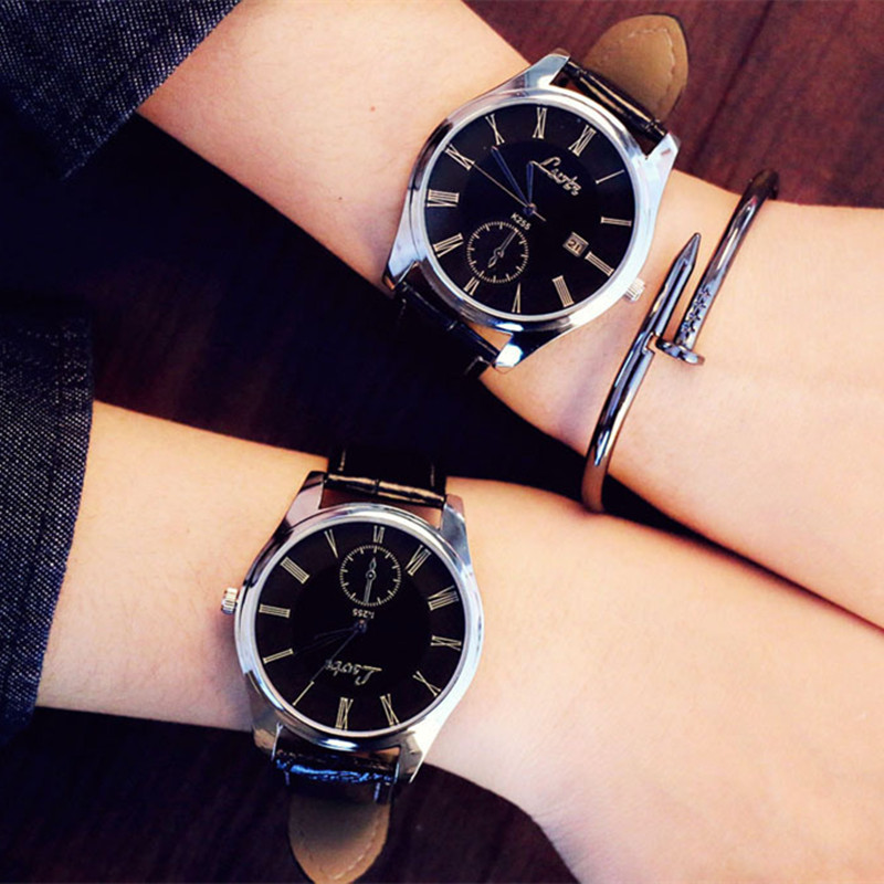 Simple Couple Watches Pair Clock Luxury Roman Style Men's Watch Fashion Women's Quartz Wristwatches Gift For Men Lover's Watch