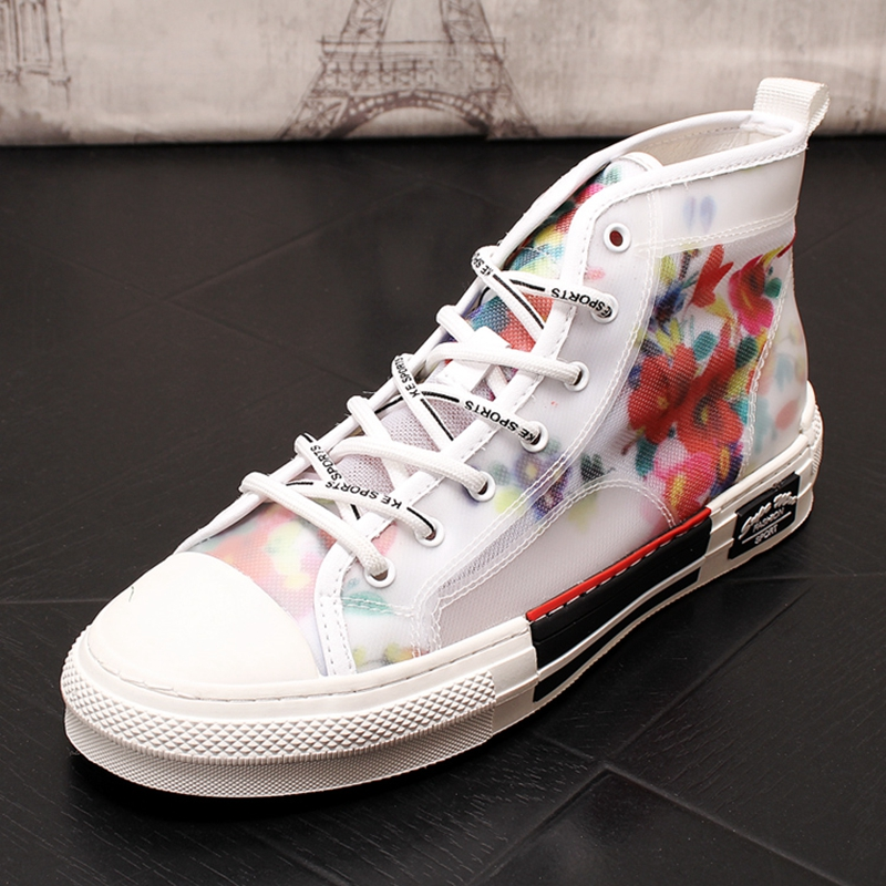 Stephoes New Men Fashion Casual Ankle Boots Summer Air Mesh Breathable High Top Embroidery Board Shoes Male Leisure SneakersStephoes New Men Fashion Casual Ankle Boots Summer Air Mesh Breathable High Top Embroidery Board Shoes Male Leisure Sneakers