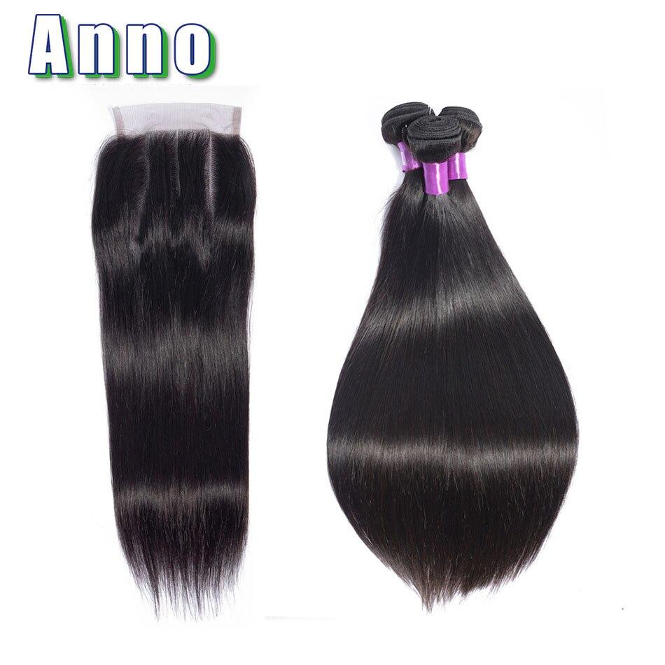 Annowig Peruvian Straight Hair Weaves 3 Bundles With Closure Human Hair Bundles With Lace Closure Non