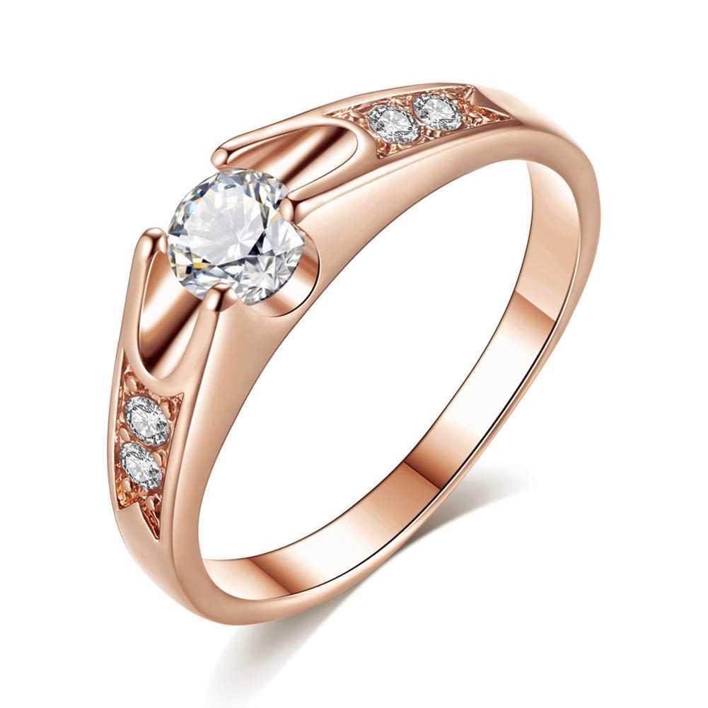תכשיטים פיין 925 טבעת רוז זהב קלאסי אופנה KBESYEQT