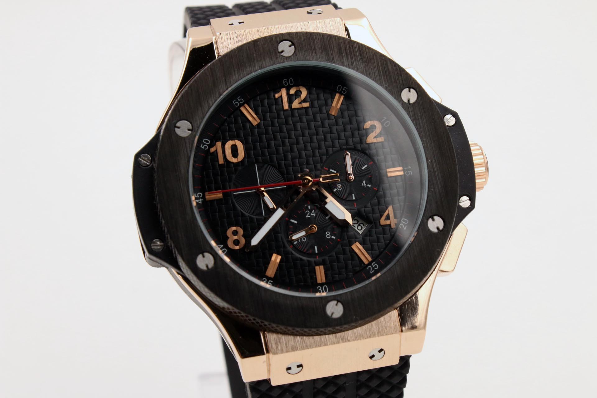 Classic mens watch Big 44mm Transparent back Black plaid dial Original buckle buckle Aaaa Rubber Rose Gold Case WristwatchClassic mens watch Big 44mm Transparent back Black plaid dial Original buckle buckle Aaaa Rubber Rose Gold Case Wristwatch