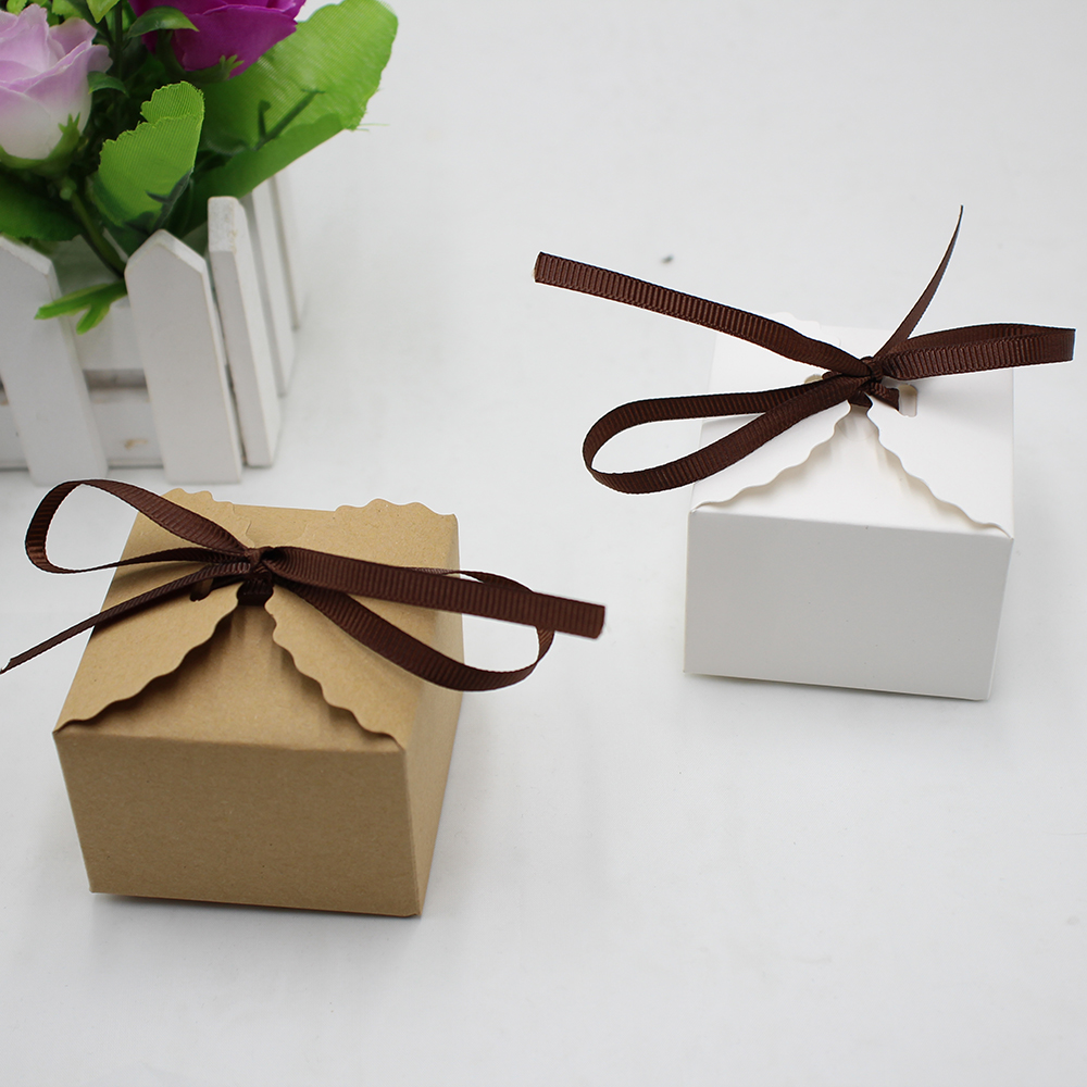 50pcs/set Brown and White Retro Mini Kraft Paper Box DIY Wedding ...