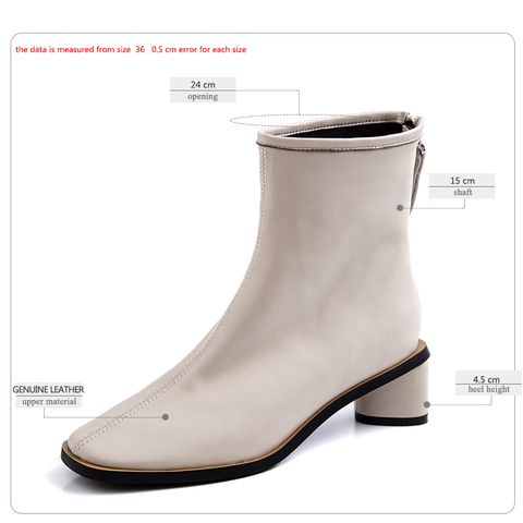 ISNOM Genuine Leather Ankle Boots Women Square Toe Booties Woman Fashion Shoes Female Thick Heels Zip Shoes Ladies Winter 2019 Lahore