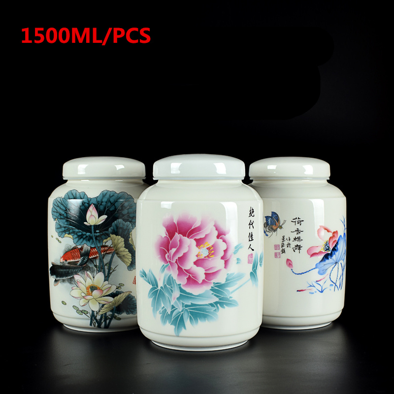 WSHYUFEI Sealed Ceramic Storage Jar for Spices Tank Container for Eating with Lid Bottle Coffee Tea Caddy Kitchen 1500ML