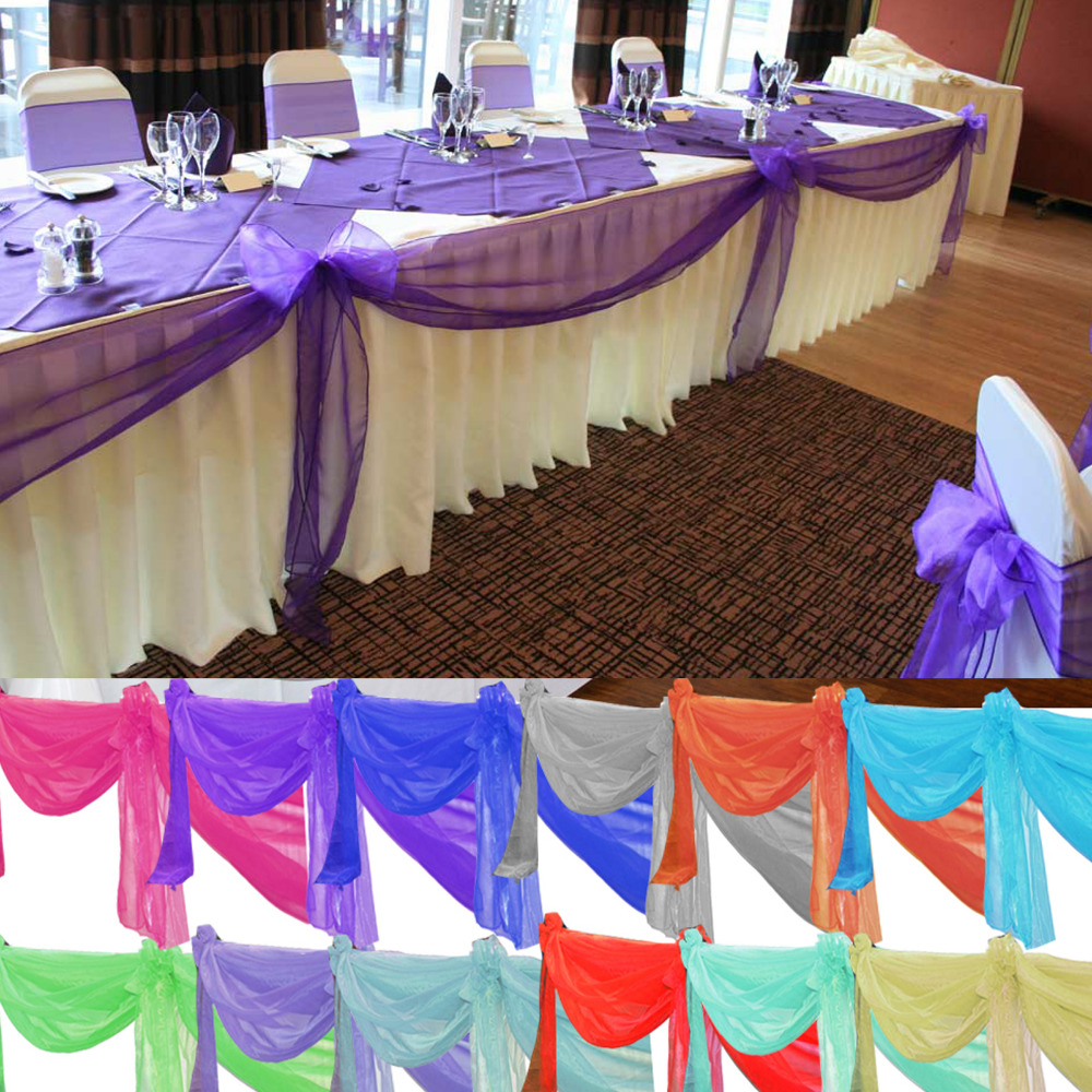 25 m Organza Tissu New Years Couleurs Fête Décoration Table Runner festons