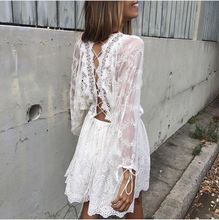 2017 Cotton Lace Sexy Halter Holiday Beach cross drawstring strap heavy embroidery waist long sleeved dress