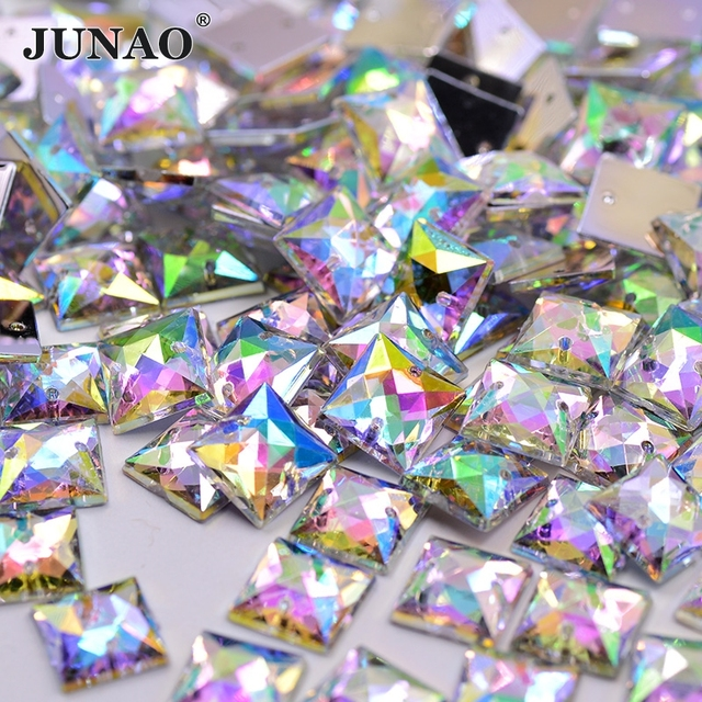 JUNAO 10mm Sewing Crystal AB Square Rhinestones Flatback Acrylic Strass  Appliques Sew On Crystals Stones For DIY Clothes Crafts 9ffec749c6cc